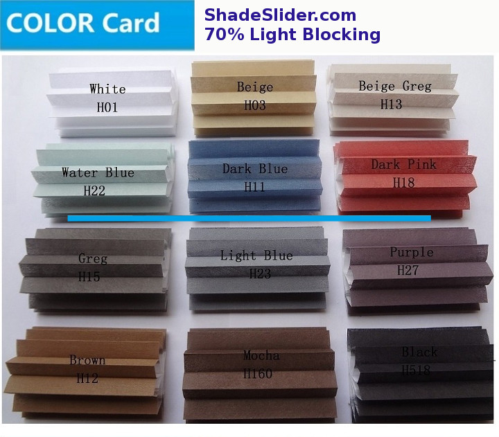 ShadeSlider for skylights and bottom-up windows - partial light blocking cellular fabric colors