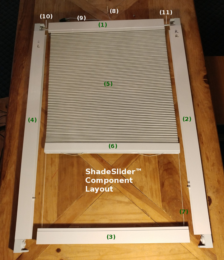 ShadeSlider for skylights and bottom-up windows - component parts